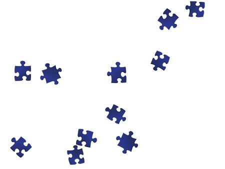 Business conundrum jigsaw puzzle dark blue pieces vector background. Scatter of puzzle pieces isolated on white. Teamwork abstract concept. Connection elements.