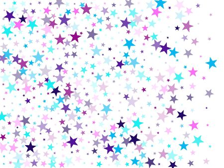 Flying stars confetti holiday vector in cyan blue violet on white. New year festive sparkles design. Cute cartoon stars holiday vector. Twinkle starburst astral wallpaper.