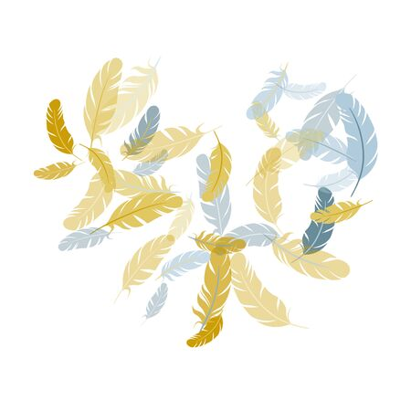 Cute silver gold feathers vector background. Falling feather elements soft vector design. Angel wing plumage concept. Easy plumelet ethnic indian graphics.