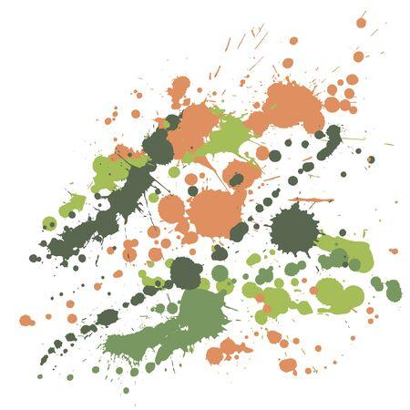 Ink stains grunge background vector. Futuristic ink splatter, spray blots, mud spot elements, wall graffiti. Watercolor paint splashes pattern, smear liquid stains spots backdrop. Vektorgrafik