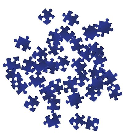 Business teaser jigsaw puzzle dark blue parts vector illustration. Group of puzzle pieces isolated on white. Cooperation abstract concept. Jigsaw match elements. Ilustrace
