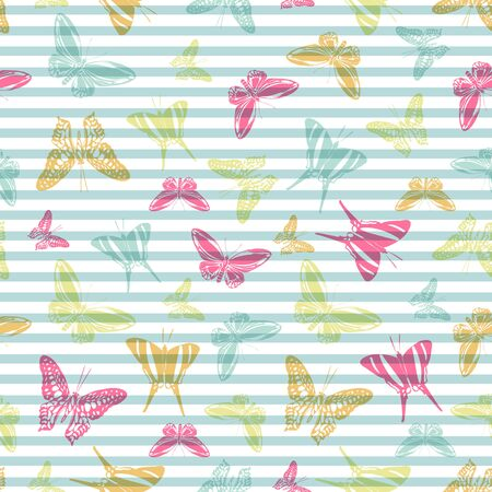 Flying vivid butterfly silhouettes over striped background vector seamless pattern. Vintage textile print design. Stripes and butterfly winged insect silhouettes seamless wallpaper. Ilustrace