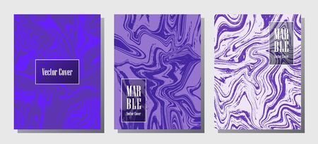 VIP marble prints, vector cover design templates. Fluid marble stone texture iInteriors fashion magazine backgrounds  Corporate journal patterns set of liquid ink waves. Cover pages set.