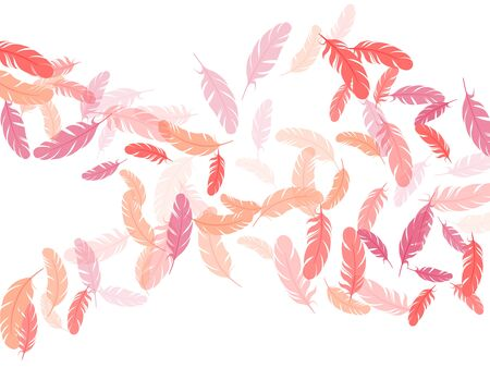 Romantic pink flamingo feathers vector background. Flying feather elements airy vector design. Decoration confetti of carnival plumelet. Bird wing plumage boho line art.