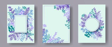 Botanical herb twigs, tree branches, leaves floral invitation cards templates. Herbal corners elegant invitation cards with dandelion flowers, fern, lichen, olive tree leaves, sage twigs.