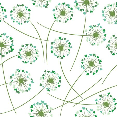 Dandelion blowing plant vector floral seamless pattern. Cute flowers with heart shaped fluff flying. Vector dandelion herbs meadow flowers floral background. Meadow blossom fabric print.