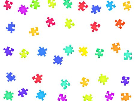 Business teaser jigsaw puzzle rainbow colors pieces vector background. Group of puzzle pieces isolated on white. Cooperation abstract concept. Game and play symbols.