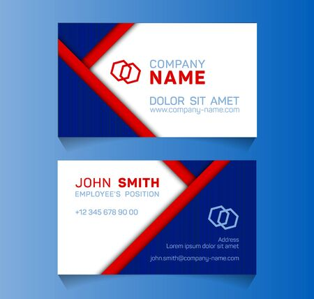 Geometric business card minimal idea vector templates set. Trendy business card graphic design with place for logo, company name, employees position, phone number, website and office address.