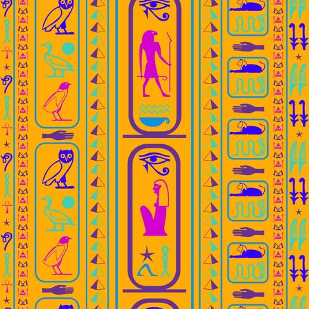 Creative egypt writing seamless vector. Hieroglyphic egyptian language symbols grid. Repeating ethnical fashion backdrop for wallpaper. Banque d'images - 133660150