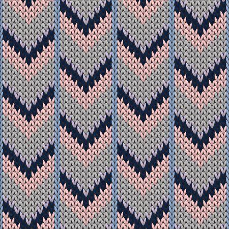 Closeup downward arrow lines knit texture geometric seamless pattern. Rug knit effect ornament. Norwegian style seamless knitted pattern. Christmas spirit backdrop. Stock Illustratie