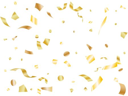 Gold on white glossy holiday realistic confetti flying vector background. VIP flying tinsels, foil texture serpentine streamers, sparkles, confetti falling party background.