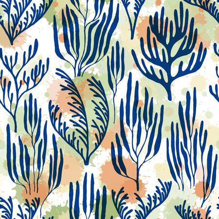 Coral polyps seamless pattern. Paint splashes drops watercolor background. Red Sea coral reef branches and bushes cartoon. Sea reef nature pattern. Aquarium water plants summer vector design.