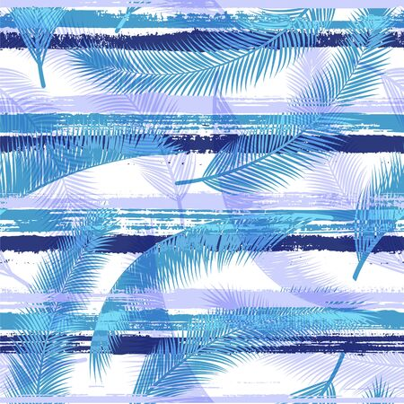 Trendy coconut palm leaves tree branches overlapping stripes vector seamless pattern. Indonesian forest foliage beach fashion fabric print. Floral tropical leaves seamless design. Stock Illustratie