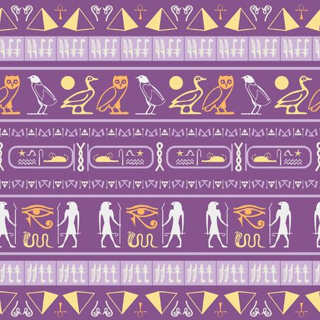 Trendy egyptian motifs seamless vector. Ethnic hieroglyph symbols template. Repeating ethnical fashion background for clothing fabric. Standard-Bild - 133437741