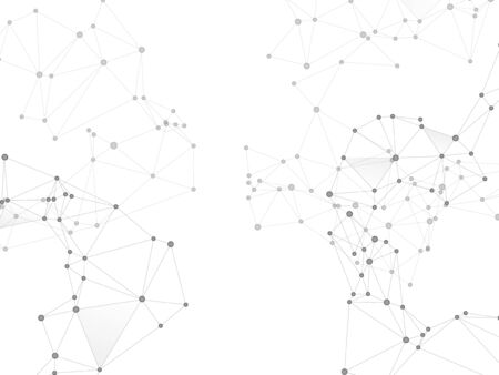 Geometric plexus structure cybernetic concept. Network nodes greyscale plexus background. Coordinates structure grid shape vector. Net grid of node points, lines matrix. Genetic engineering abstract.