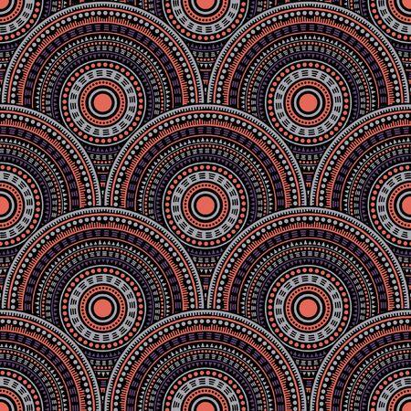 Moroccan circular shapes carpet design vector seamless pattern. Ethnic motifs doodle line art geometry. Arabic ethnic circle mandala elements seamless geometric pattern.