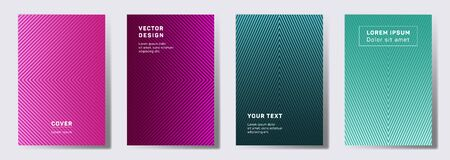 Trendy cover templates set. Geometric lines patterns with edges, angles. Gradient backgrounds for notepads, notice paper covers. Lines texture, header title elements. Cover page layouts set.