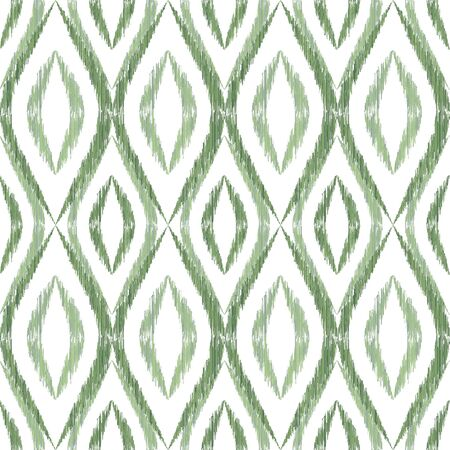 Ikat ogee seamless vector pattern illustration. Ethnic fabric print geometric ikat pattern. Modern ogee seamless repeating background. Tribal motifs ikat textile print design. Fashion ornament.