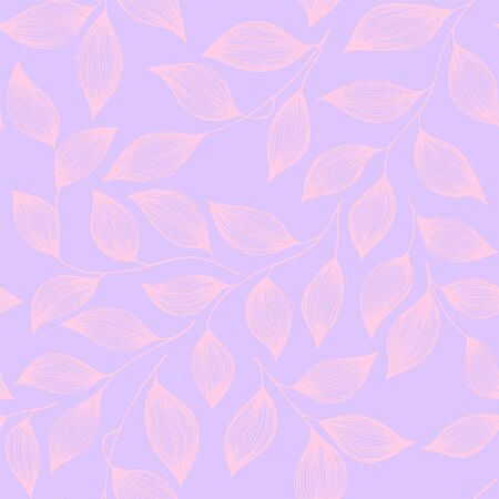 Packaging tea leaves pattern seamless vector illustration. Decorative tea plant bush pink leaves floral textile ornament. Herbal sketchy repeating background pattern with nature elements.