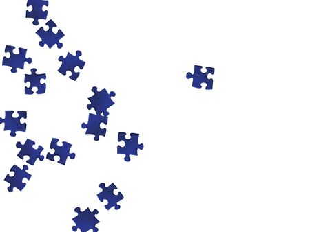 Abstract riddle jigsaw puzzle dark blue parts vector illustration. Scatter of puzzle pieces isolated on white. Strategy abstract concept. Jigsaw gradient plugins.