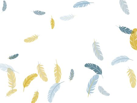 Sophisticated silver gold feathers vector background. Plumage bohemian fashion shower decor. Detailed majestic feather on white design. Easy plumelet ethnic indian graphics. Stock Illustratie