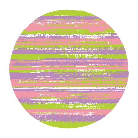 Abrupt circle vector geometric shape with striped texture of ink horizontal lines. Planet concept with old paint texture. Stamp round shape logotype circle with grunge background of stripes.