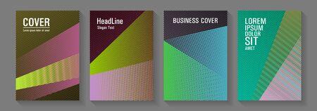 Halftone lines placard backgrounds design. Future dynamic covers geometry set. Corporate branding leaflets. Digital stylish outlet backdrops. Trendy stationery folder backgrounds.