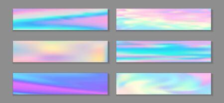 Holography cute flyer horizontal fluid gradient princess backgrounds vector set. Opalescence holography texture gradients. Fluid liquid print abstract princess backgrounds.