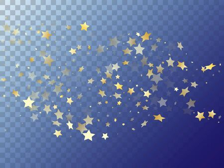 Star shining gold gradient sparkles on transparent background. Vintage vector magic stars gold falling sparkles with gradient texture on transparent. Christmas starburst lights backdrop.