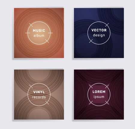 Geometric plate music album covers collection. Semicircle curve lines patterns. Dynamic plate music records covers, vinyl album mockups. DJ records geometric layouts. Techno party posters.