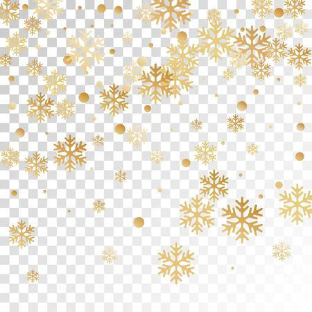 Crystal snowflake and circle shapes vector backdrop. Unusual winter snow confetti scatter card background. Flying gradient snow flakes background, awesome water crystals vector.