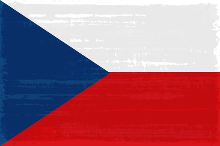 Czech national flag isolated vector illustration. Travel map design element. Europe county symbol. Czech flag icon with grunge texture. Flat flag of Czech Republic with blue triangle over red white Stock Illustratie