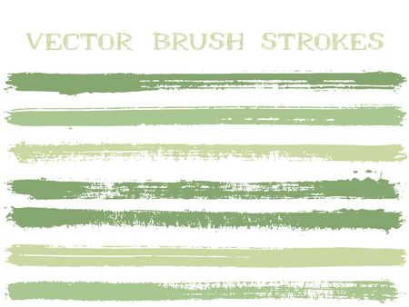 Hipster ink brush strokes isolated design elements. Set of paint lines. Advertising Ink brushe stripes isolated on white, vector color scheme samples. Ilustração