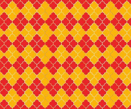 Arabian Mosque Vector Seamless Pattern. Argyle rhombus muslim textile background. Traditional ramadan pattern with gold grid. Stylish islamic argyle seamless design of lantern lattice shape tiles.