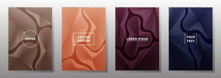 Colorful covers linear design. Fluid curve shapes geometric lines patterns. Abstract backgrounds for notepads, notice paper covers. Lines texture, header title elements. Cover page templates.
