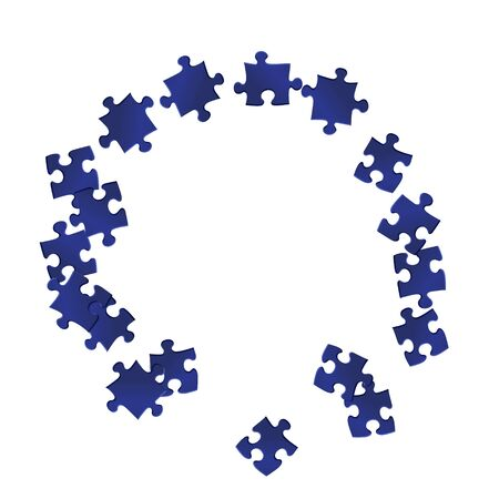 Business teaser jigsaw puzzle dark blue pieces vector background. Scatter of puzzle pieces isolated on white. Teamwork abstract concept. Game and play symbols. Ilustrace