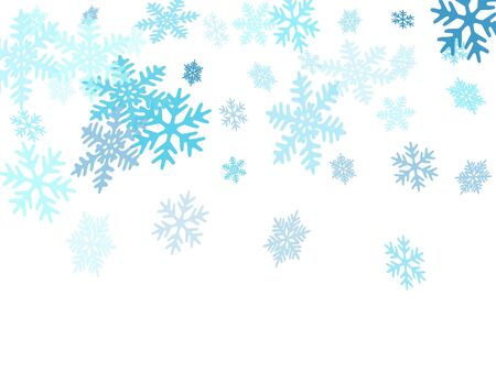 Snow flakes falling macro vector illustration, christmas snowflakes confetti falling scatter banner. Winter xmas snow background. Motion flakes falling and flying winter seasonal weather vector. Çizim