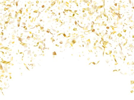 Gold shiny realistic confetti flying on white holiday vector background. Chic flying sparkle elements, gold foil texture serpentine streamers confetti falling birthday vector.