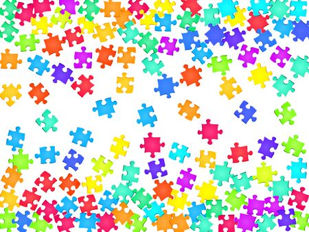 Abstract teaser jigsaw puzzle rainbow colors pieces vector background. Top view of puzzle pieces isolated on white. Success abstract concept. Game and play symbols.