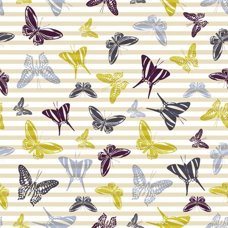 Flying trendy butterfly silhouettes over striped background vector seamless pattern. Childish fashion textile print design. Stripes and butterfly winged insect silhouettes seamless wallpaper.