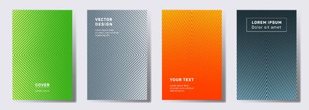 Flat cover templates set. Geometric lines patterns with edges, angles. Halftone poster, flyer, banner vector backgrounds. Line stripes graphics, title elements. Cover page layouts set.
