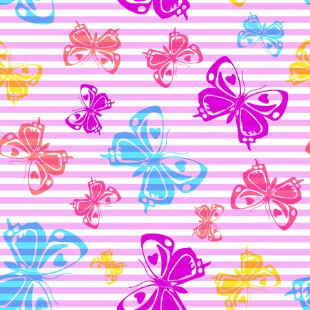 Flying romantic butterfly silhouettes over striped background vector seamless pattern. Childish fashion textile print design. Stripes and butterfly garden insect silhouettes seamless wallpaper.