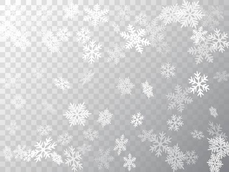 Snow flakes falling macro vector design, christmas snowflakes confetti falling scatter banner. Winter snow shapes decor. Airy flakes falling and flying winter trendy vector background. Illustration