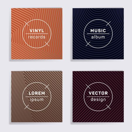 Geometric plate music album covers collection. Halftone lines backgrounds. Flat plate music records covers, vinyl album mockups. DJ records geometric layouts. Techno party posters. Ilustração