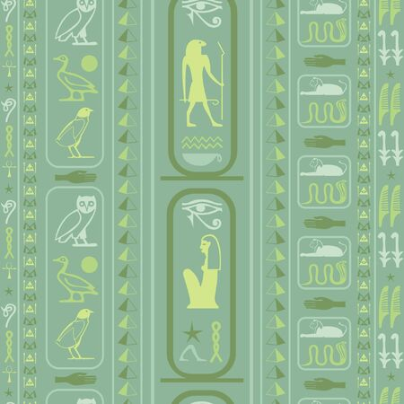 Creative egypt writing seamless background. Hieroglyphic egyptian language symbols texture. Repeating ethnical fashion background for interior decor.