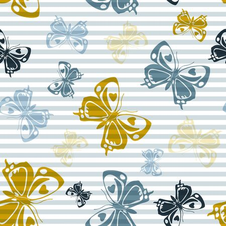 Flying romantic butterfly silhouettes over horizontal stripes vector seamless pattern. Kids fashion fabric print design. Stripes and butterfly garden insect silhouettes seamless design. Ilustrace