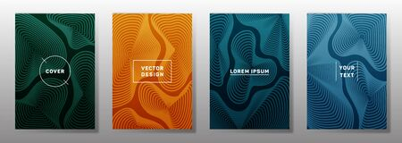 Colorful cover templates set. Fluid curve shapes geometric lines patterns. Geometric backgrounds for cataloges, corporate brochures. Line shapes patterns, header elements. Cover page layouts set.