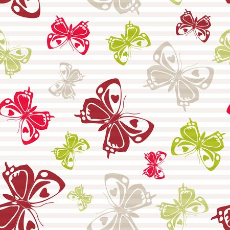 Flying pretty butterfly silhouettes over striped background vector seamless pattern. Baby clothing fabric print design. Lines and butterfly winged insect silhouettes seamless wallpaper.