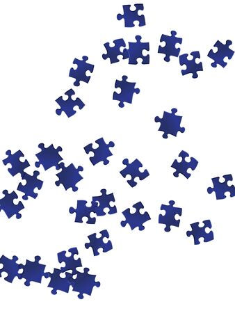 Game brainteaser jigsaw puzzle dark blue parts vector illustration. Scatter of puzzle pieces isolated on white. Teamwork abstract concept. Jigsaw gradient plugins. Ilustrace