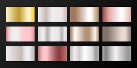 Silver, platinum, bronze, rose gold vector metallic gradients. Buttons set. Polished iron, chrome, alloy, aluminum, titanium, copper, silver, rose gold, platinum, steel, bronze background swatches.